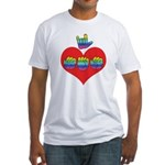 I Love Mom with Big Heart Fitted T-Shirt