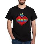 I Love Mom with Big Heart Dark T-Shirt