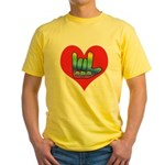 I Love Mom Inside Big Heart Yellow T-Shirt