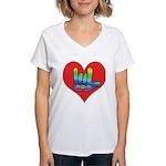 I Love Mom Inside Big Heart Women's V-Neck T-Shirt