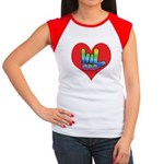 I Love Mom Inside Big Heart Women's Cap Sleeve T-S