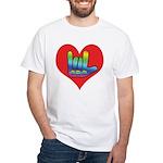 I Love Mom Inside Big Heart White T-Shirt