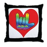 I Love Mom Inside Big Heart Throw Pillow