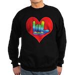 I Love Mom Inside Big Heart Sweatshirt (dark)
