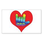 I Love Mom Inside Big Heart Sticker (Rectangle 50