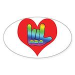 I Love Mom Inside Big Heart Sticker (Oval 50 pk)