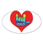 I Love Mom Inside Big Heart Sticker (Oval 10 pk)