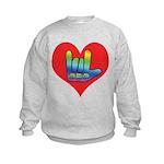 I Love Mom Inside Big Heart Kids Sweatshirt