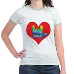 I Love Mom Inside Big Heart Jr. Ringer T-Shirt
