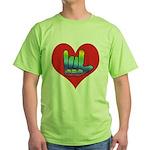 I Love Mom Inside Big Heart Green T-Shirt