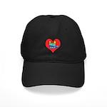 I Love Mom Inside Big Heart Black Cap