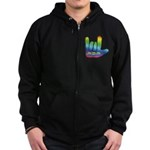I Love Mom Big Hand Zip Hoodie (dark)