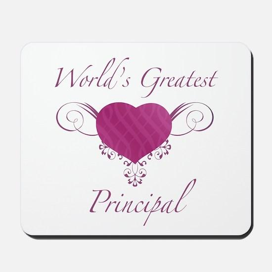 World's Greatest Principal (Heart) Mousepad