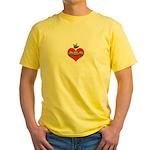 I Love Mom Inside Small Heart Yellow T-Shirt