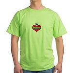 I Love Mom Inside Small Heart Green T-Shirt