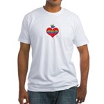 I Love Mom Inside Small Heart Fitted T-Shirt