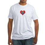 I Love Mom in Little Heart Fitted T-Shirt