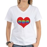Mom Inside Big Heart Women's V-Neck T-Shirt