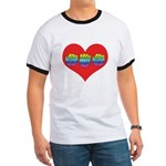 Mom Inside Big Heart Ringer T
