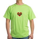 Mom Inside Small Heart Green T-Shirt
