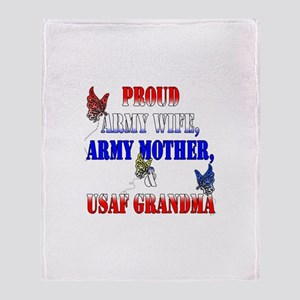 Army Wife Mother USAF Grandma Throw Blanket