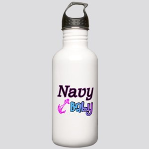 Navy Baby pink anchor Stainless Water Bottle 1.0L