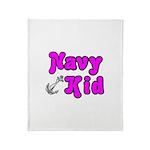 Navy Kid (pink) Throw Blanket