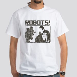 ROBOTS! Vintage-Look White T-Shirt
