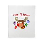Merry Christmas Reindeer Throw Blanket