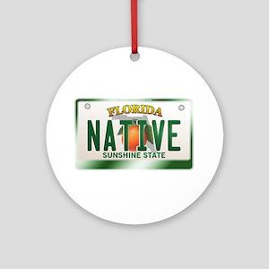 """NATIVE"" Florida License Plate Ornament (Round)"