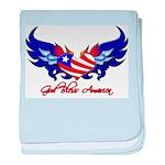 God Bless America Heart Flag baby blanket