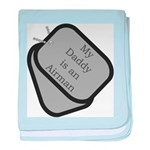 My Daddy is an Airman dog tag baby blanket