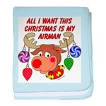 Christmas I want my Airman baby blanket