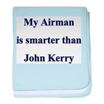 My Airman is smarter than Joh baby blanket