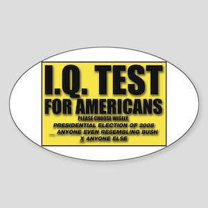 IQ Test Oval Sticker