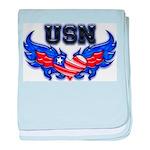 USN Heart Flag baby blanket