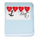 Navy Brat hearts baby blanket