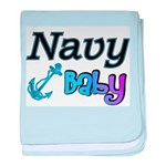 Navy Baby blue anchor baby blanket
