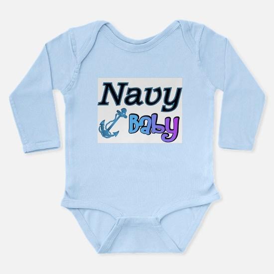 Navy Baby blue anchor Long Sleeve Infant Bodysuit
