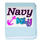 Navy Baby pink anchor baby blanket