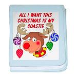 Christmas I want my Coastie baby blanket