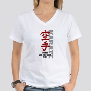 First karate lesson is free Women's V-Neck T-Shirt