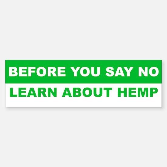 learn about hemp Bumper Bumper Bumper Sticker