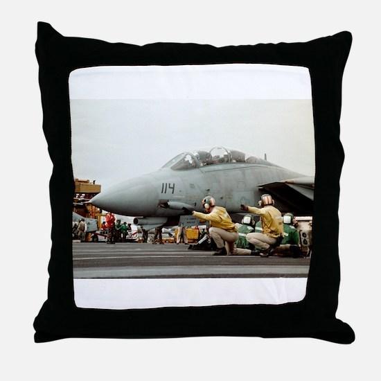 F14B Tomcat From the USS Kitt Throw Pillow