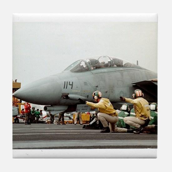 F14B Tomcat From the USS Kitt Tile Coaster