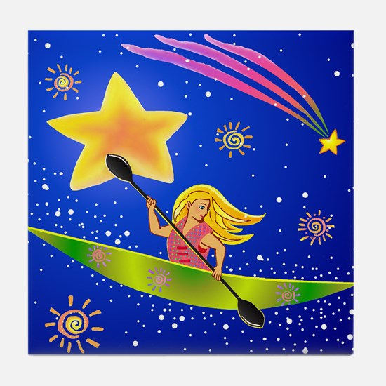 Star Kayaker Tile Coaster