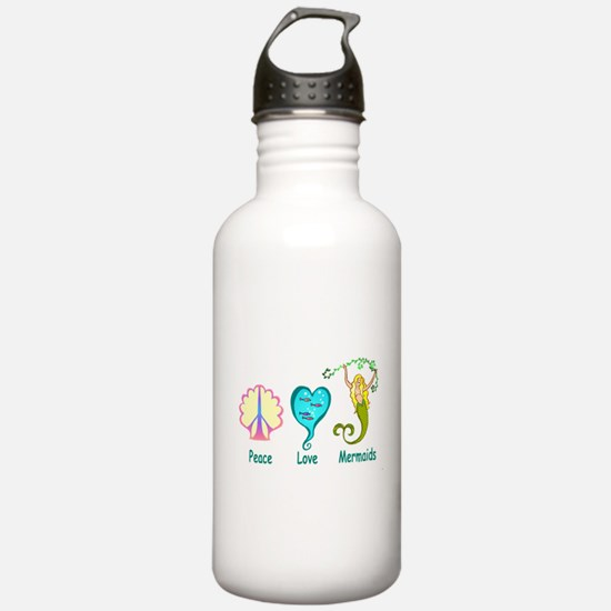 Peace,Luv,Mermaids Water Bottle
