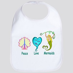 Peace,Luv,Mermaids Bib