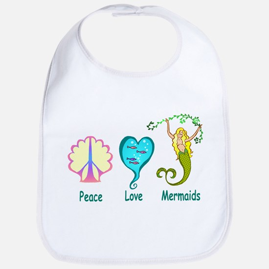 Peace,Luv,Mermaids Bib