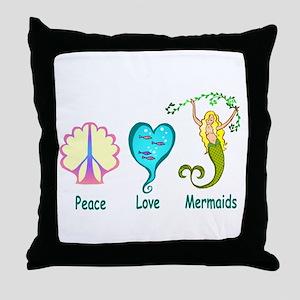 Peace,Luv,Mermaids Throw Pillow